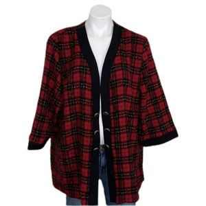 Red Plaid Sweater Coat sz 24W